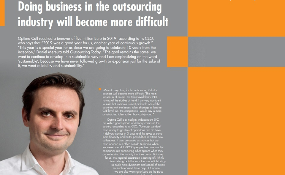 Daniel Mereuta,  Optima: Doing business in the outsourcing industry will become more difficult