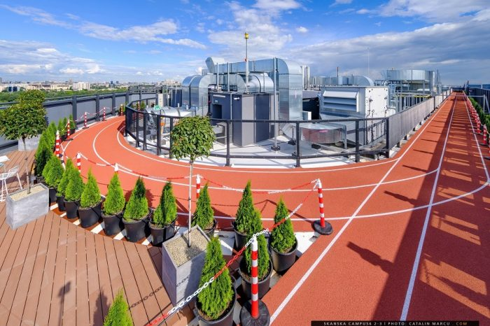 Skanska inaugurates the first rooftop running track in Romania, on the top of  Campus 6.2 and 6.3 buildings in Bucharest